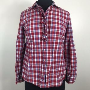 Talbots Front Plaid Long Sleeve Shirt